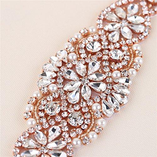 (2 piezas) Rhinestone Applique con Cristales y Perlas para el Vestido Headpieces Bolsas Cinturon para Vestido Novia, Cinturones Boda Oro Rosa-012