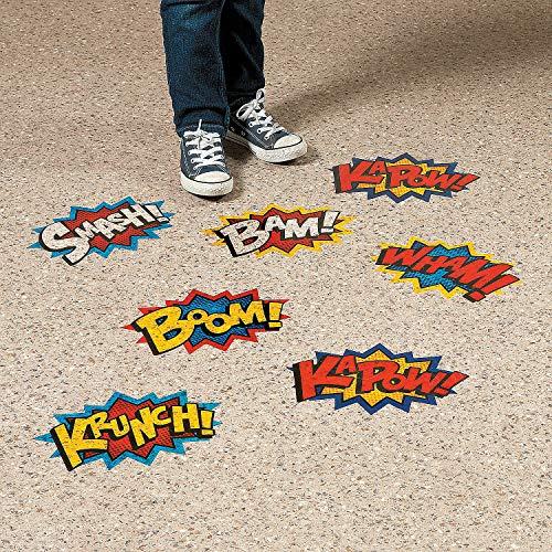 Fun Express - Superhero Floor Clings - Educational - Classroom Decorations - Classroom Decor - 3 Pieces -