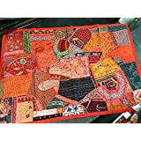 Mogulinterior Indian Inspired Tapestry Red Hand Embroidered Patchwork Hippie Wall Hanging Gift Idea
