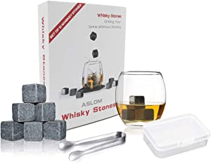 Whiskey Stones Set Box of 10 Chilling Rocks, 100% Pure Soapstone for Cold Whiskey Beverages Best Gift (grey)