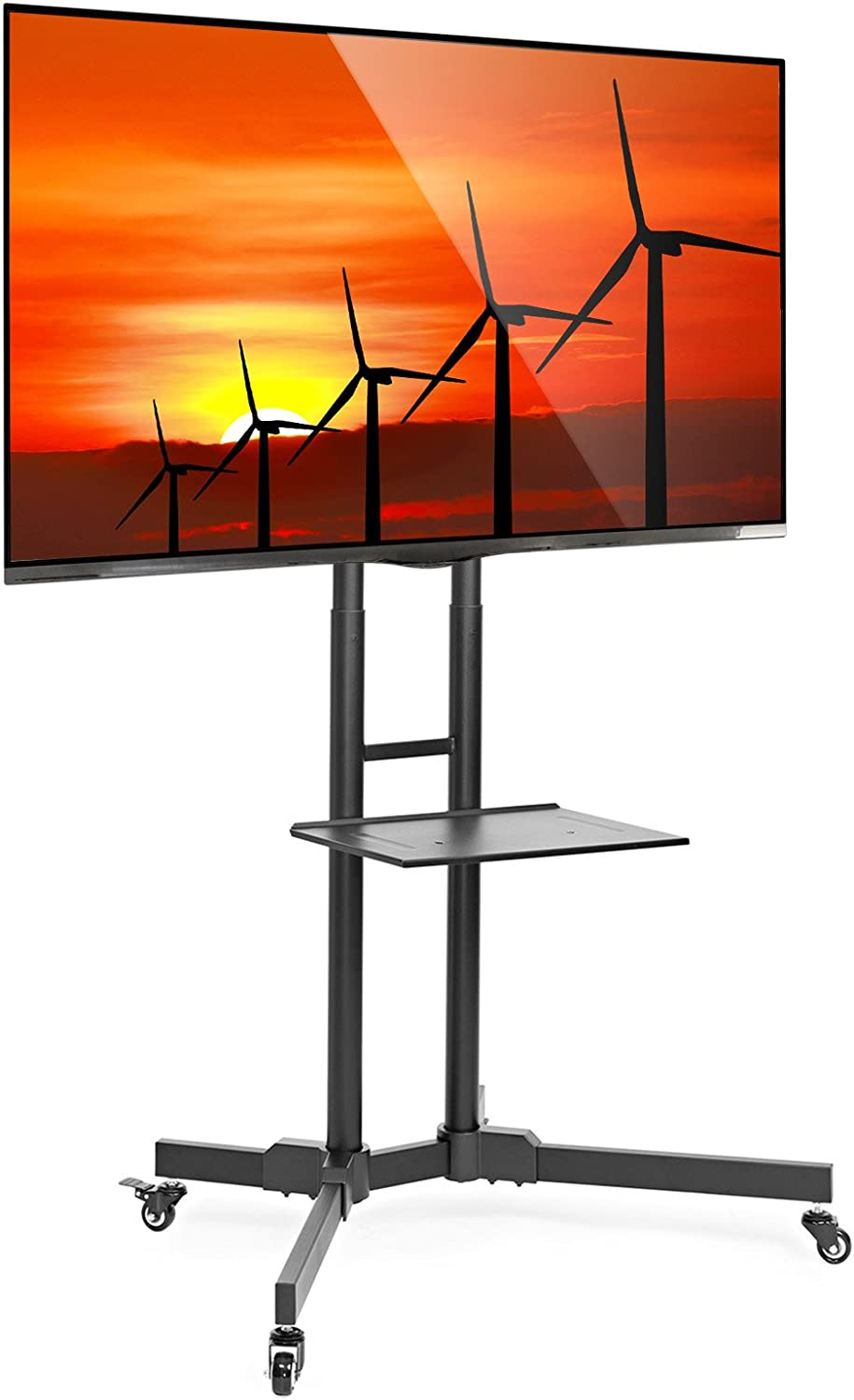 Mount Factory Rolling TV Stand Mobile TV Cart for 32-65 inch Plasma Screen, LED, LCD, OLED, Curved TV s – Mount Universal with Wheels