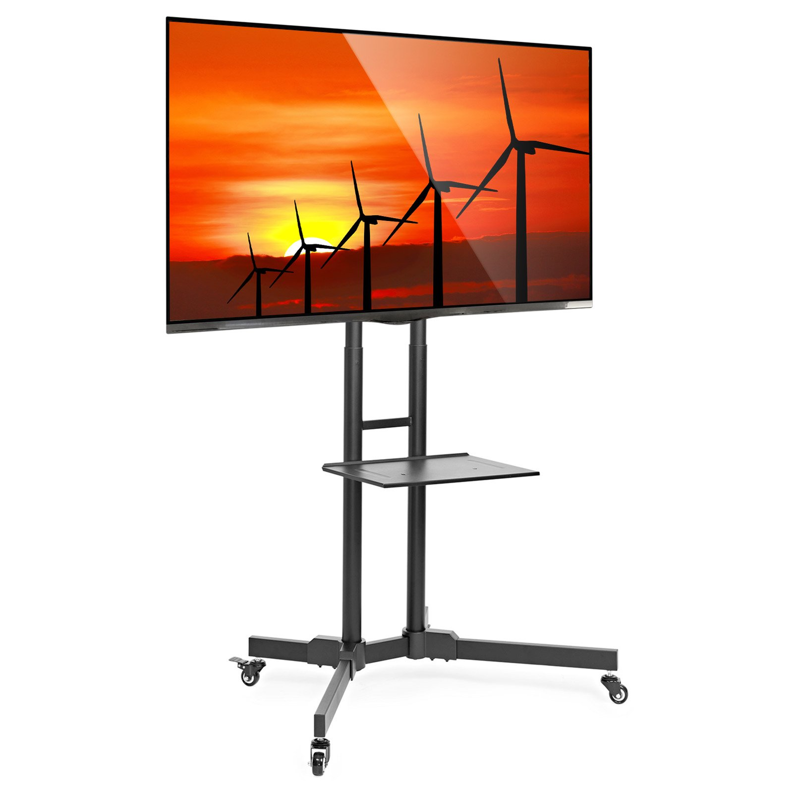 Mount Factory Rolling TV Stand Mobile TV Cart for 32-65 inch Plasma Screen, LED, LCD, OLED, Curved TV's - Mount Universal with Wheels by Mount Factory