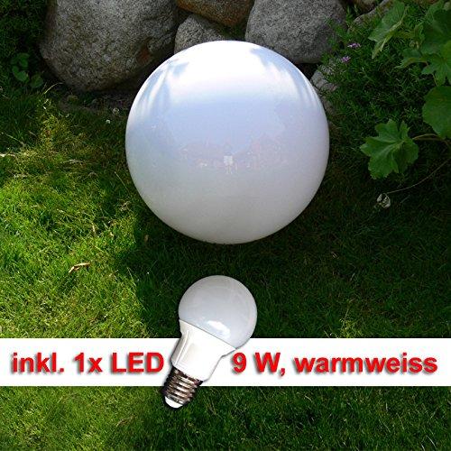 LED Kugellampe, Kugelleuchte 40cm incl. 9 Watt LED Leuchtmittel E27, warmweiss Gartenkugel Leuchtkugel für Aussen Kugellampen Set für den Garten