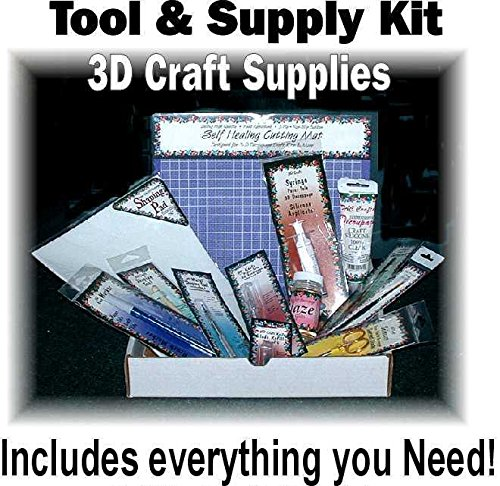 Complete Tool and Supply Kit for Paper Tole 3D Decoupage Crafts and Card Making Crafts includes 13 Quality Items