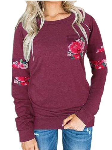 Tayaho T-Shirt Donna Blusa Manica Lunga Taglie Forti Maglia Elegante E Casual Con Stampa Floreale Ca...