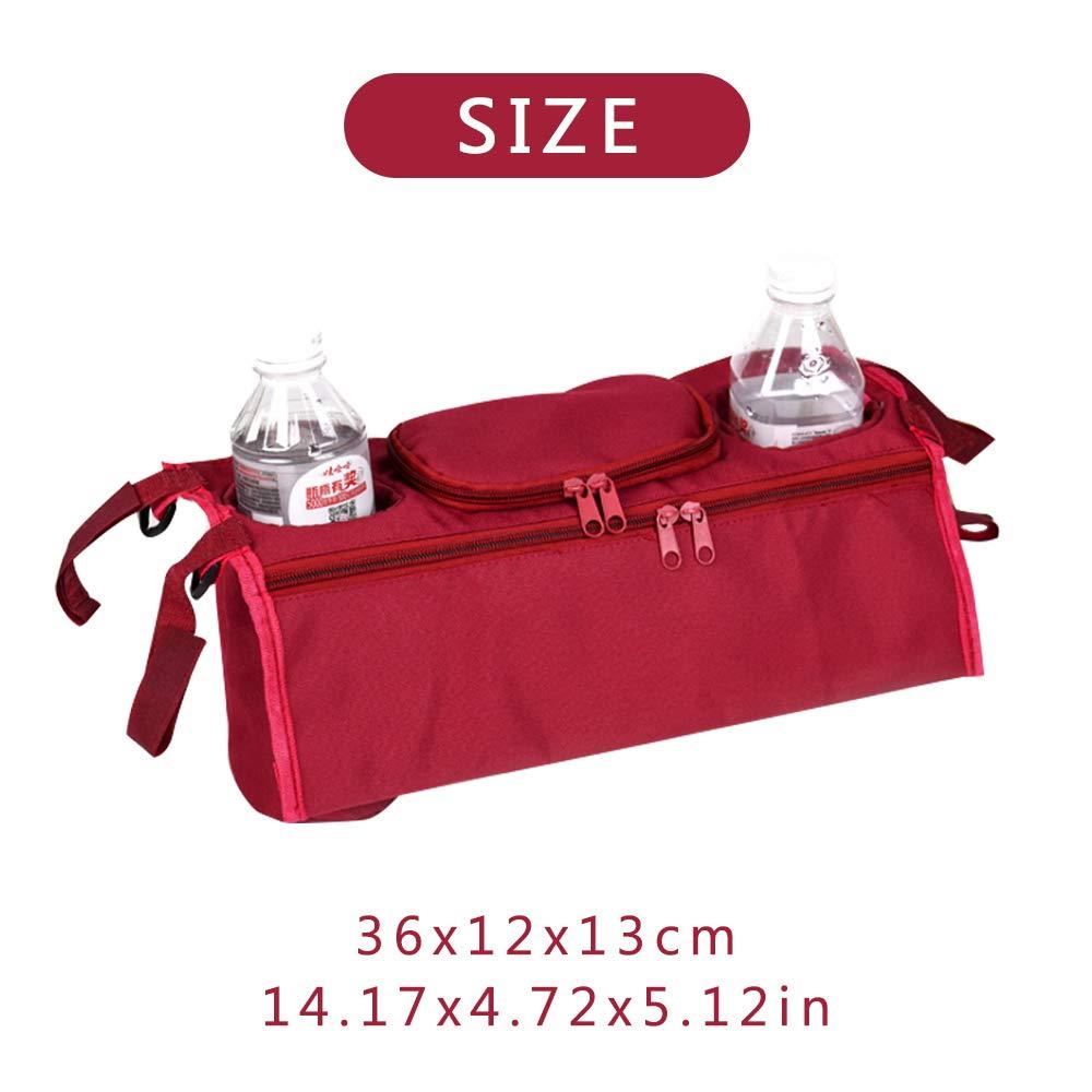 Rocita Cochecito Organizador Cochecito de Beb/é Universal Bolsa de Almacenamiento Colgante Posterior Bolsillos M/últiples Bolsillos con Cremallera y Profundo rojo