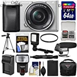 Sony Alpha A6300 4K Wi-Fi Digital Camera & 16-50mm Lens (Silver) with 64GB Card + Case + Flash + LED Video Light + Mic + Battery & Charger + Tripod + Kit