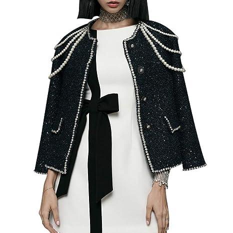 DGFHR Chaqueta De Mujer Abrigo De Tweed De Manga Larga para Mujer Perlas De Abalorios De
