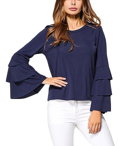 Mujer Camiseta Mangas Largas Volantes Blusa Casual Oficina Camisas Tops