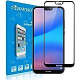【全面密着】AMOVO Huawei P20 Lite フィルム P20 Lite HWV32 ガラスフィルム 全面保護 硬度9H 鮮やか 飛散防止 ファーウェイP20 ライト 強化ガラス (Huawei P20 Lite, 黒) (Huawei P20 Lite, 黒)
