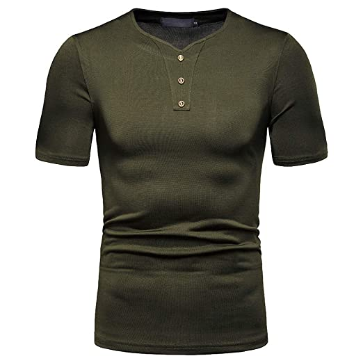 Fashion Mens Casual Pure Color Slim Fit Short Sleeve Sports Shirt Top Blouse
