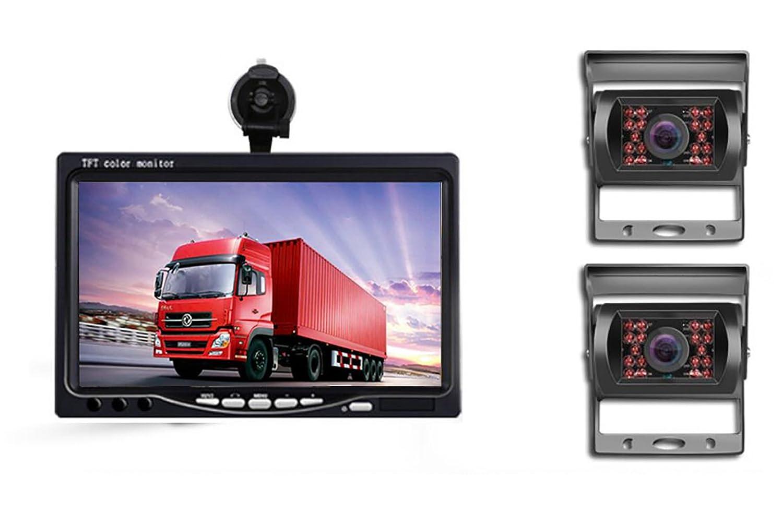 OBEST オンダッシュモニター  防水赤外線暗視 バックカメラセット 7インチモニター+バックカメラセット 15m延長ケーブル付き  フロント/サイド/バックカメラ監視 ガイドライン表示有り 取り付け簡単 大型車向け トラック、バス、トレーラーなど重機対応 12V/24V両対応 (モニター+4カメラ) B07CGHPZRL モニター+4カメラ  モニター+4カメラ