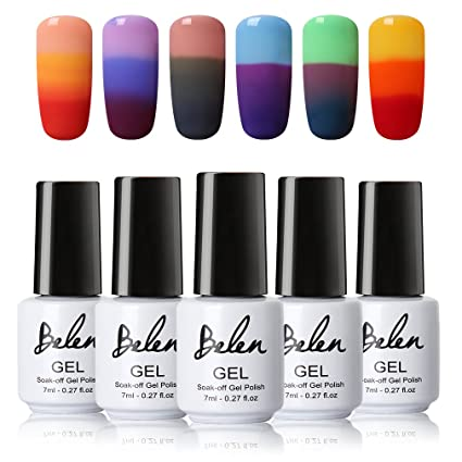 Kit de uñas en gel, Belen 6pcs térmica temperatura cambia de color Gel Nail Polish