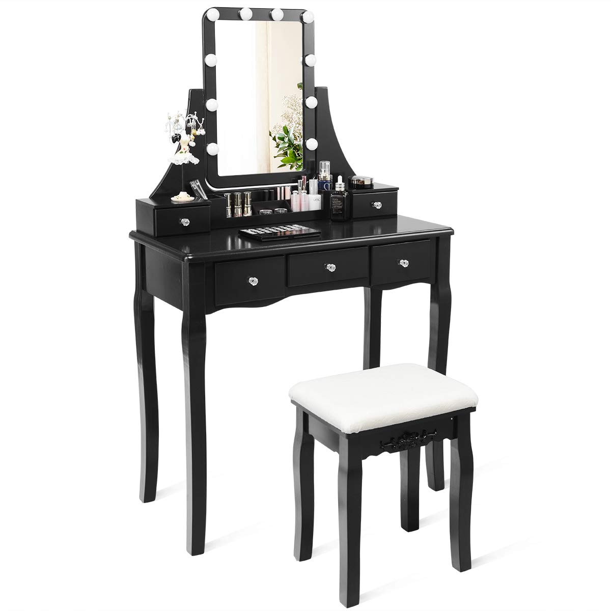 CHARMAID Vanity Set with Lighted Mirror, 10 Dimmable Light Bulbs Vanity Dressing Table, 5 Drawer with 2 Dividers Removable Organizer, Makeup Table and Cushioned Stool Set with 10 LED Bulbs (Black) by CHARMAID