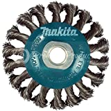 """Makita® 1 Piece - 4 Inch Knotted Twist Wire Wheel Brush For Grinders - Heavy-Duty Conditioning For Metal - 4"""" x 5/8-Inch   11 UNC   0.020"""" Thick Wire"""