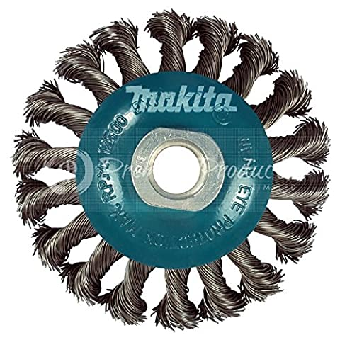 Makita 1 Piece - 4 Inch Knotted Twist Wire Wheel Brush For Grinders - Heavy-Duty Conditioning For Metal - 4