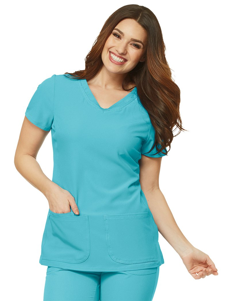 HeartSoul Break On Through by Women's Pitter-Pat V-Neck Solid Scrub Top Medium Splash