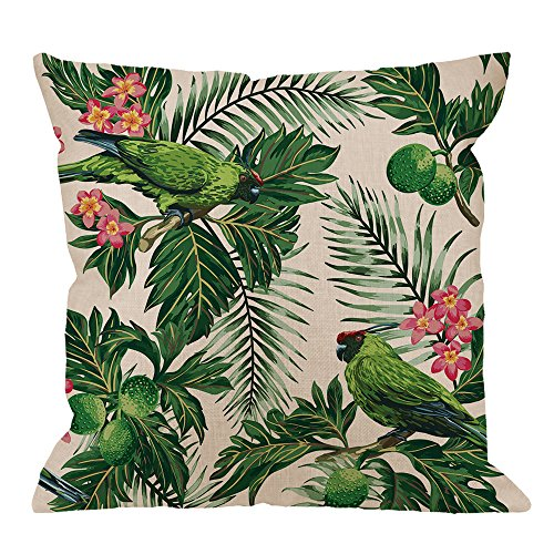HGOD DESIGNS Green Leaf Pillow Case,Seamless Exotic Tropical Pattern Leaves Fruits and Bird Cotton Linen Cushion Cover Square Standard Home Decorative for Men/Women/Kids 18x18 inch ()
