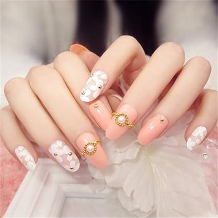 COCOPOP - 24 uñas postizas 3D rosas con decoración de taladro, uñas falsas para mujeres