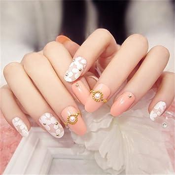 COCOPOP - 24 uñas postizas 3D rosas con decoración de taladro, uñas falsas para mujeres y niñas: Amazon.es: Hogar