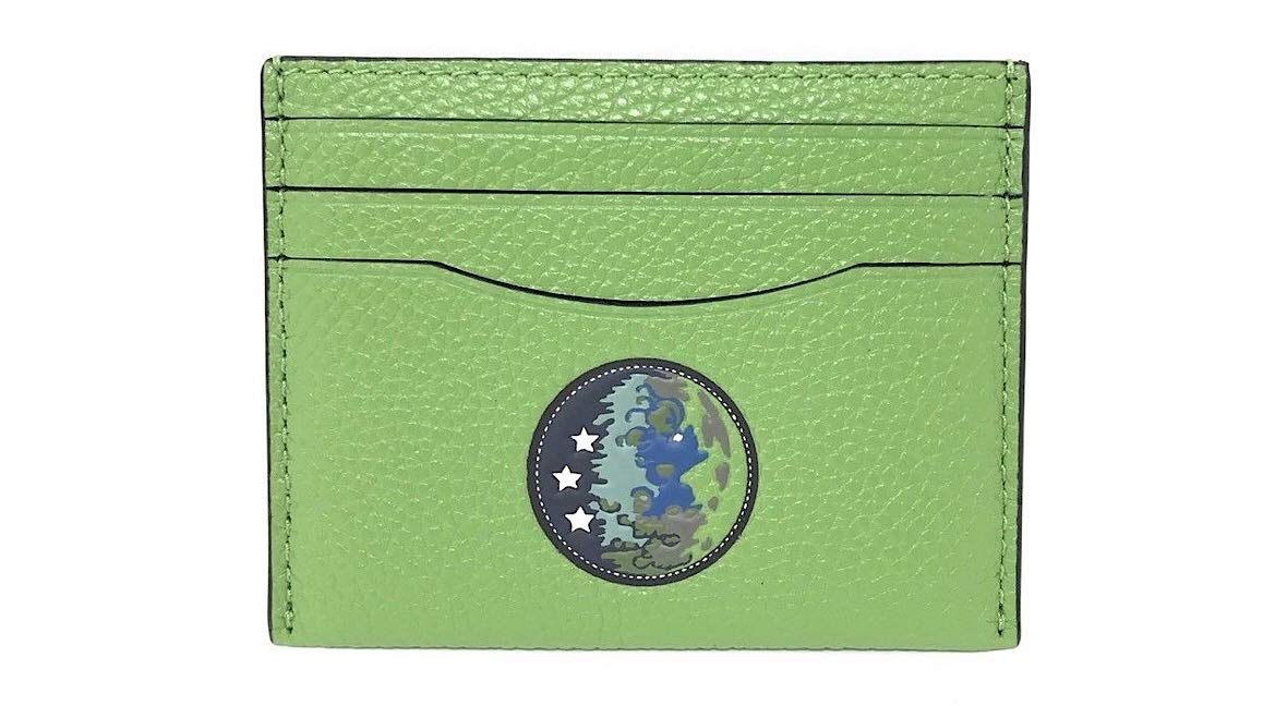 Coach X NASA Credit Card Case Earth Motif Neon Green Leather F33402 $