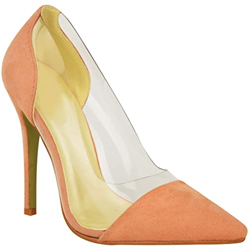 bea4a4d1b0b Amazon.com | Fashion Thirsty Womens Perspex Clear Stiletto High Heel ...
