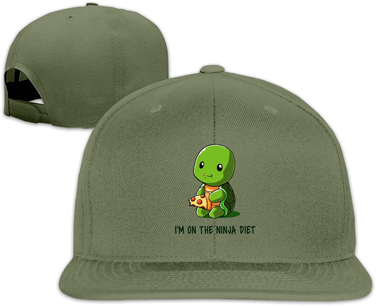Flat Bill Baseball Caps Turtles I'm On The Ninja Diet Snapback Hat Mens Women