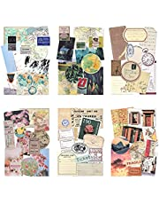 Vintage Pattern Paper with Washi Sticker Scrapbook Paper Decorative Kraft Paper with Print Single-Sided in Various Shapes and Small Sizes for Card Making Collage Art and Craft (Adventure)
