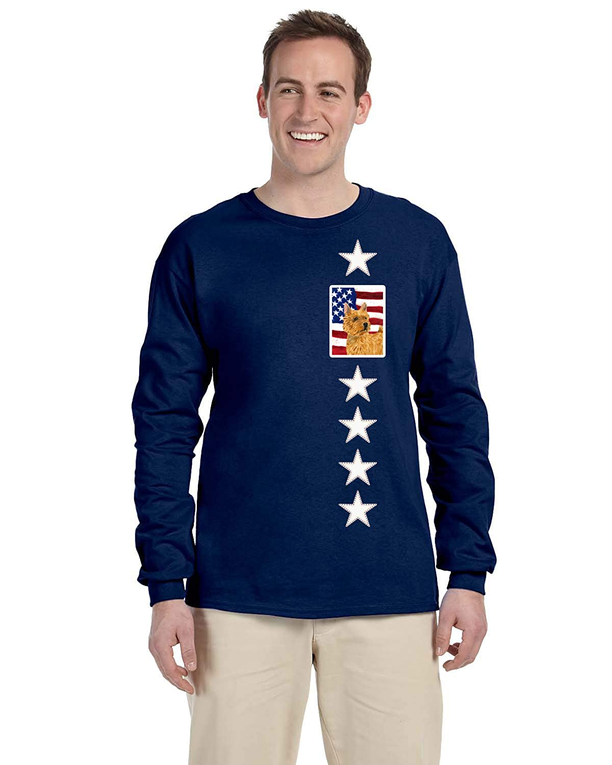 Multicolor L Carolines Treasures SS4026-LS-NAVY-L USA American Flag with Norwich Terrier Long Sleeve Blue Unisex Tshirt Large