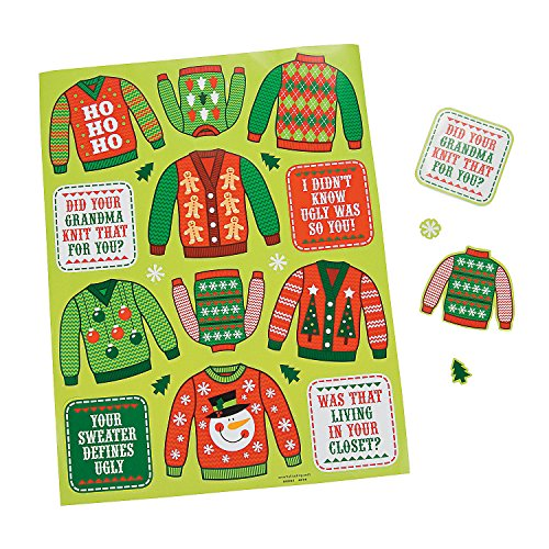 Christmas Ugly Sweater Party Favors Stickers (12 - Party Christian Christmas Supplies