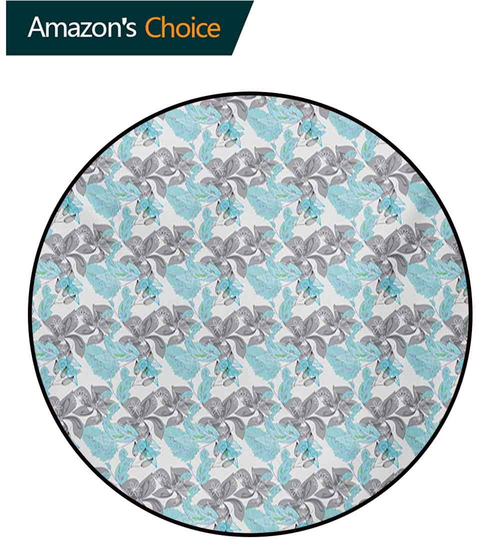 RUGSMAT Grey Blue Non-Slip Area Rug Pad Round,Blooming Abstract Flowers with Pastel Toned Foliage Leaves Pattern Nature Growth Protect Floors While Securing Rug Making Vacuuming,Diameter-51 Inch by RUGSMAT (Image #1)