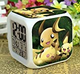 Enjoy Life : Cute Digital Multifunctional Alarm Clock With Glowing Led Lights and Pokemon Pikachu sticker, Good Gift For Your Kids, Comes With Bonuses Part 2 (07)