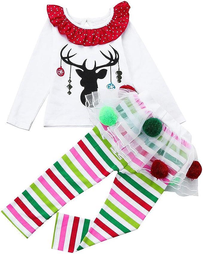 Ropa Navidad Niña Reno Camiseta Tops + Tutu Pantalones de Bola de ...