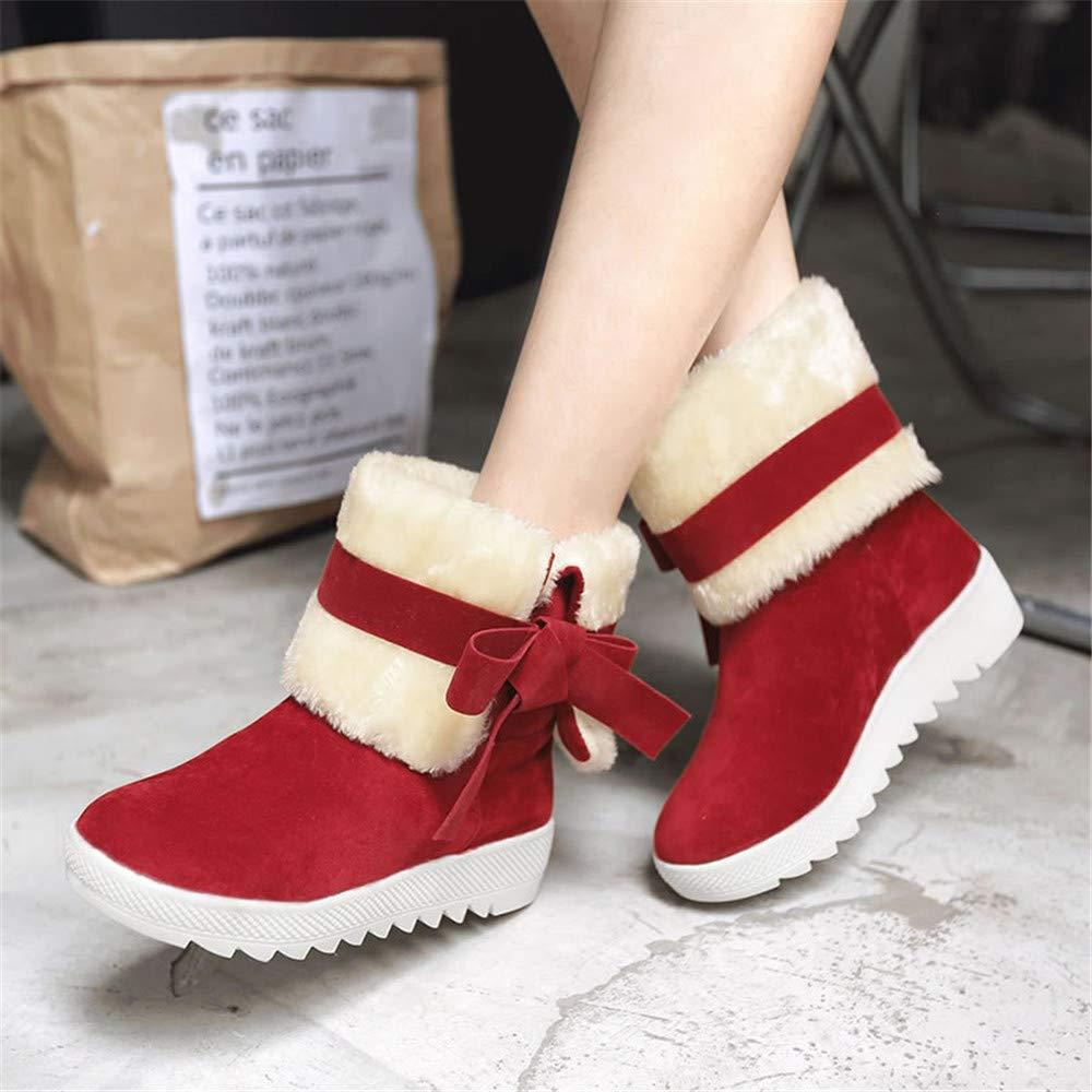 Qiusa High Heels Damenstiefel Damenstiefel Flachbodenrohrbogen warme süße Studentinnen (Farbe   EU 40 Größe   Rot)
