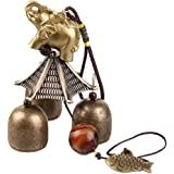 Hooshing Elephant Wind Chimes Classical Metal Bronze Bells Feng Shui Wind Chimes for Lucky Safe Home Garden Patio Hanging Dec