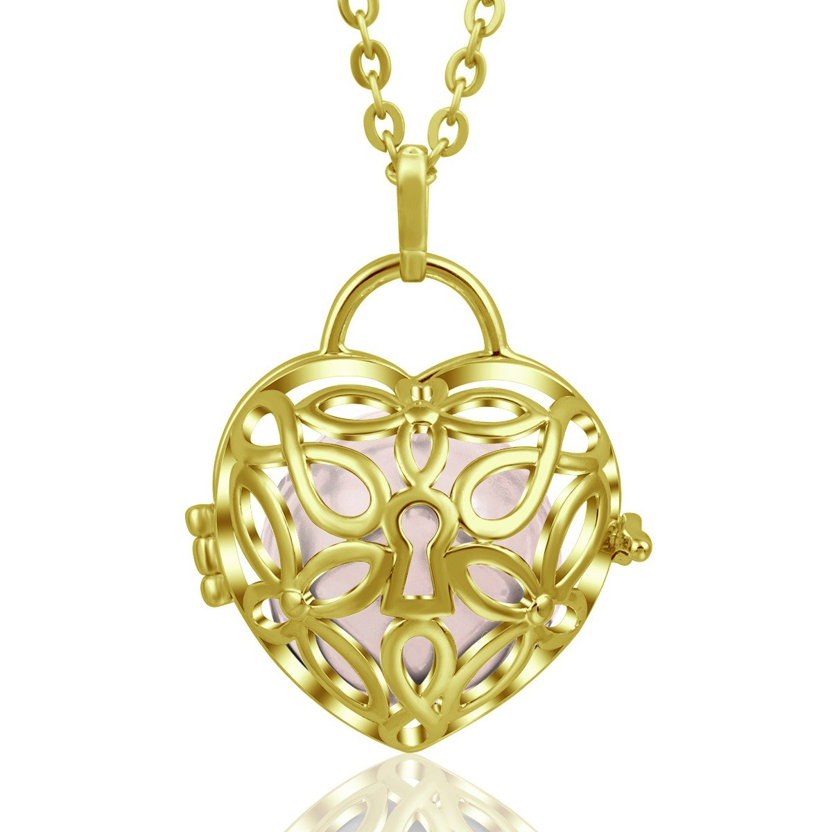 EUDORA Harmony Ball Necklace Heart Lock 18mm Pendant Silver Plated Angel Chime Bell Lucky Gift, 30''