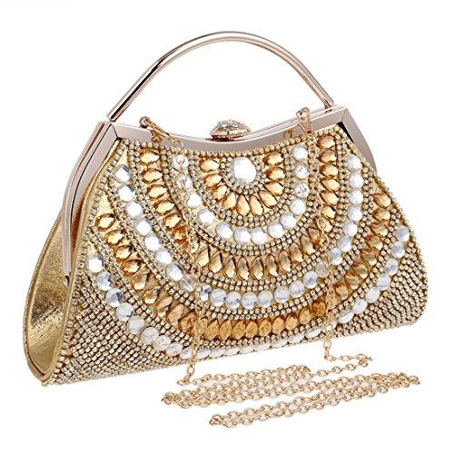 Borsa Colore da sera Nero Oro frizione con diamanti Borsa KERVINJESSIE Donna femminile da EHvqwxn04A
