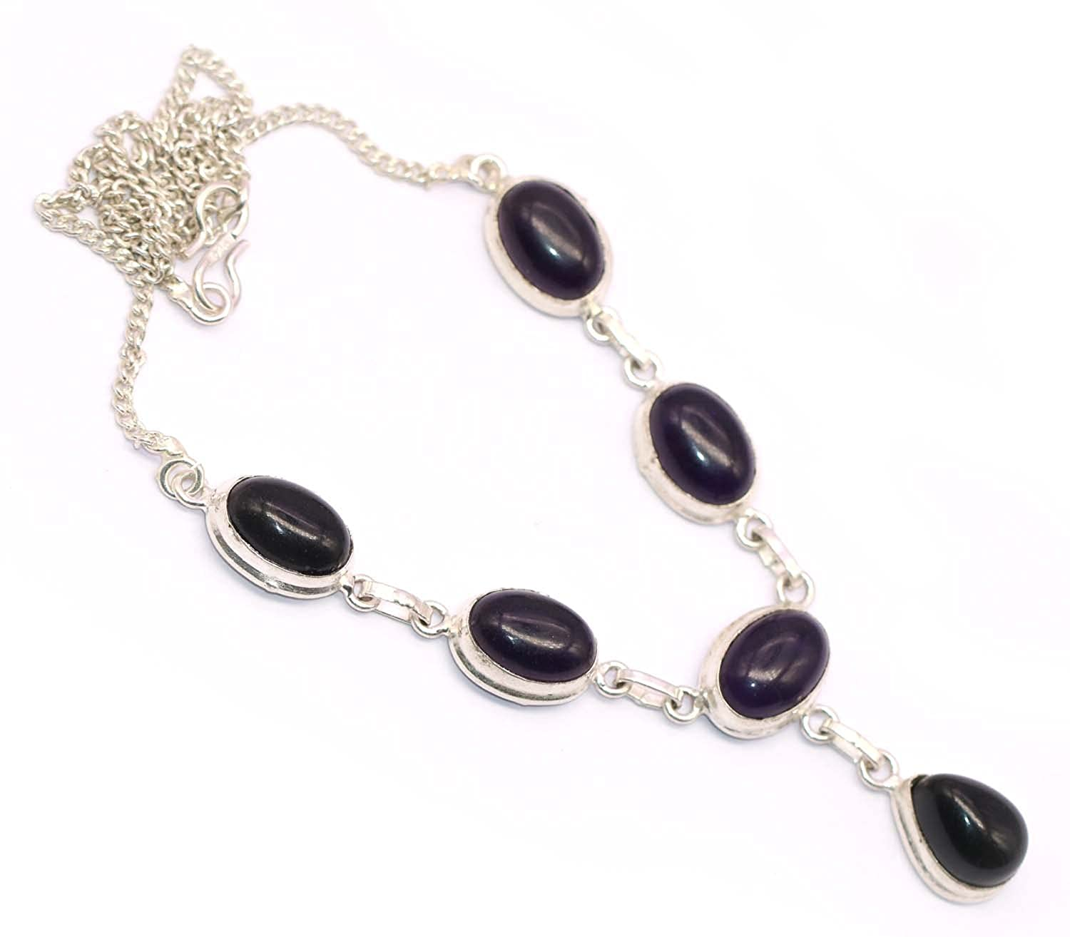 Vedika Overseas .925 Sterling Silver Overlay Amethyst Womens New Arrival Fashion Necklace For Womens /& Girls