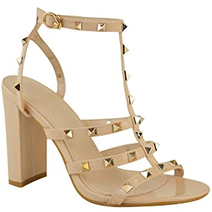 Fashion Thirsty Womens Studded Block High Heels Strappy Party Sandals Shoes Size USA 6