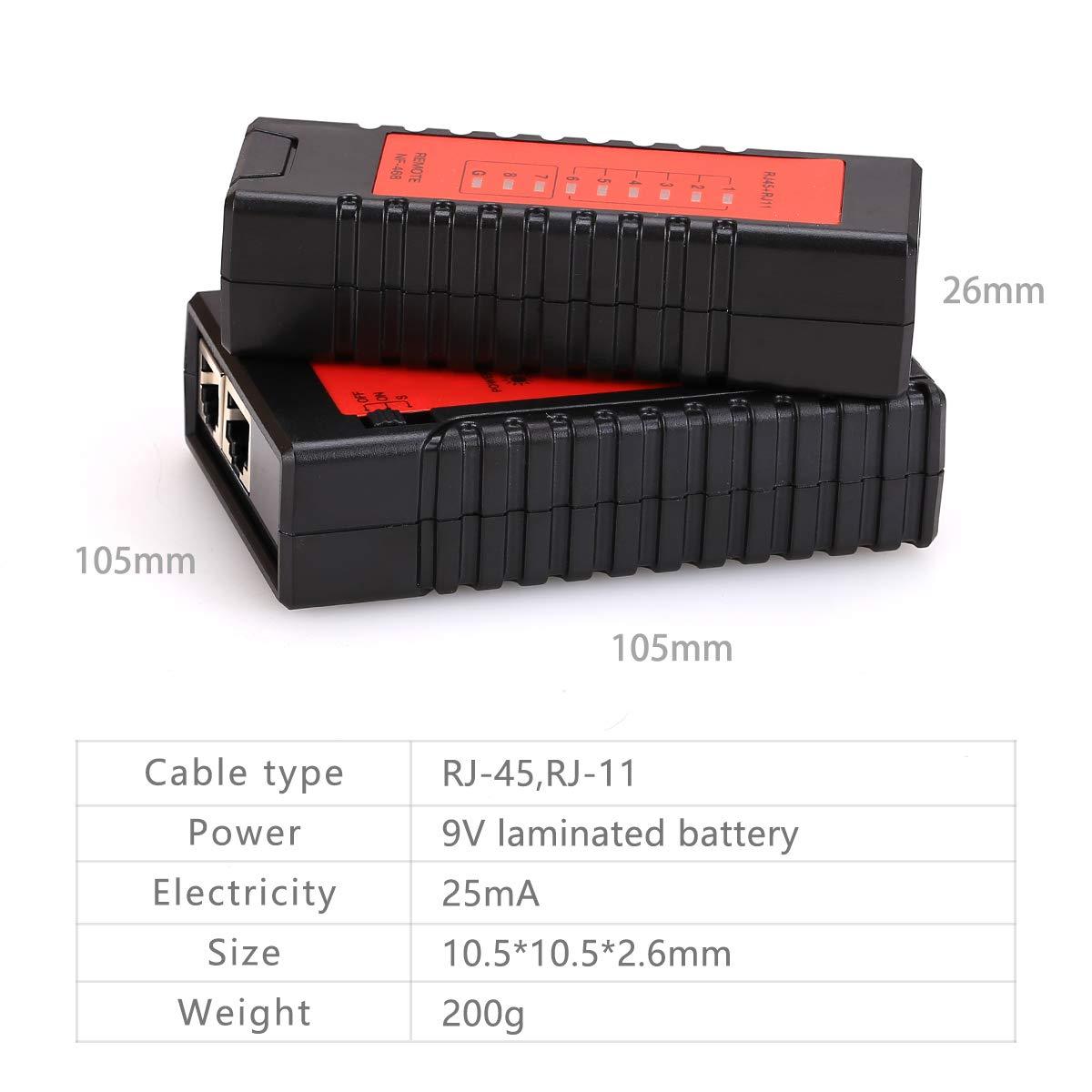 nf468/probador culpa localizador RJ45/RJ11/Red Cable Tracker comprobador de cable de red Ethernet LAN red herramienta de prueba