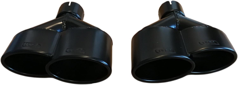 CARTUNER Duplex Auspuffblende Endrohr Doppelendrohr schwarz matt Turbo RS S-Line Look