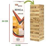 Pytho Large Pine Wood Jenga 54 Plain Classic Blocks Stacking Game for Adults and Kids; 34 X 9 X 9 cm