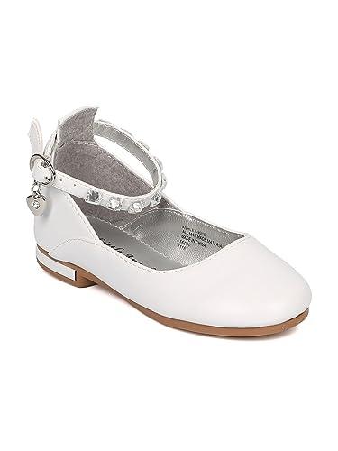 15ed907faa55d0 Girls Leatherette Rhinestone Ankle Strap Charmed Ballet Flat HJ47 - White  Leatherette (Size  Little