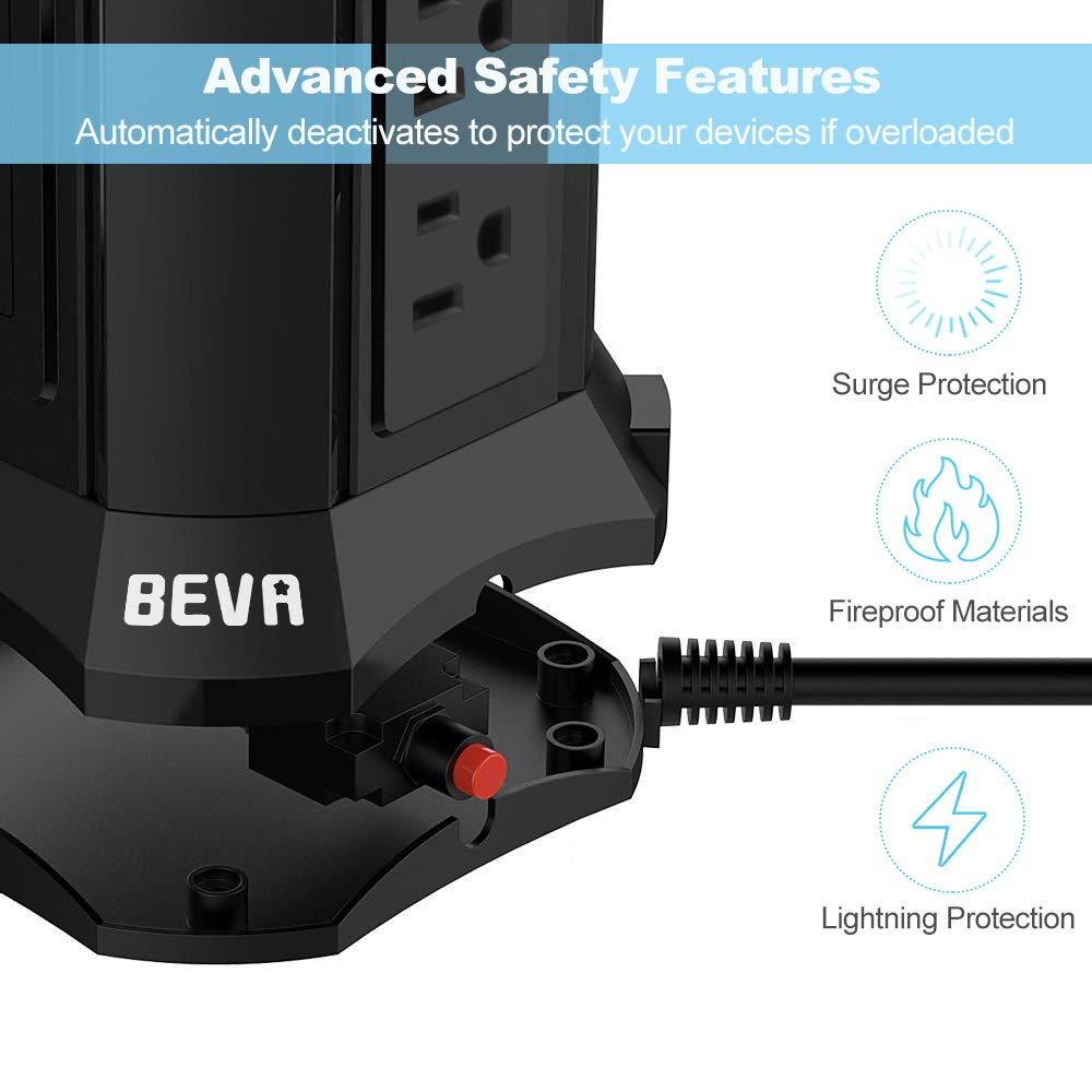 BEVA Power Strip Tower with 9 AC-Outlets and 4 USB Charging Ports Switch Control,Surge Protector Desktop Power Strip Charging Station 6 ft Extension Cable for Office and Home Black by heying (Image #3)