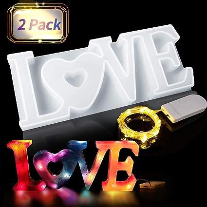 Jeteven Molde de silicona Love 3D, forma de vela, forma de cristal, resina epoxi, con cadena de luces LED, forma de resina, para manualidades, ...