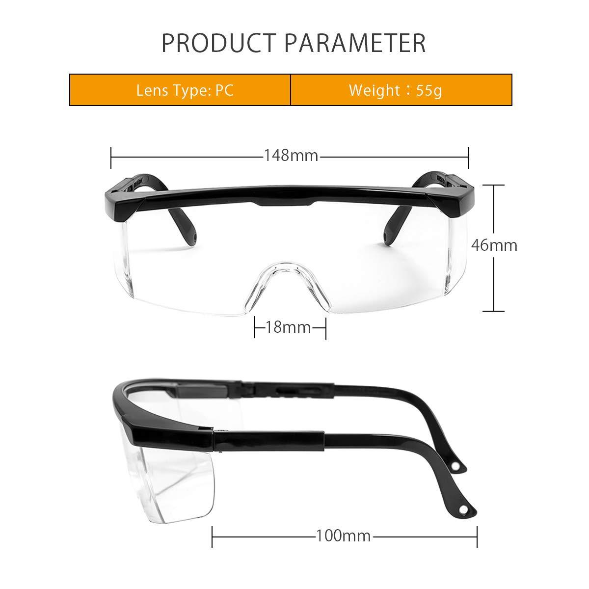 LumiSyne Gafas De Seguridad Adultos Ni/ños Gafas Protectoras Transparentes Anti Niebla Anti-Chapoteo Protecciones Para Los Ojos Bricolaje,Atenci/ón M/édica,Laboratorio De Quimica,Actividad Al Aire Libre