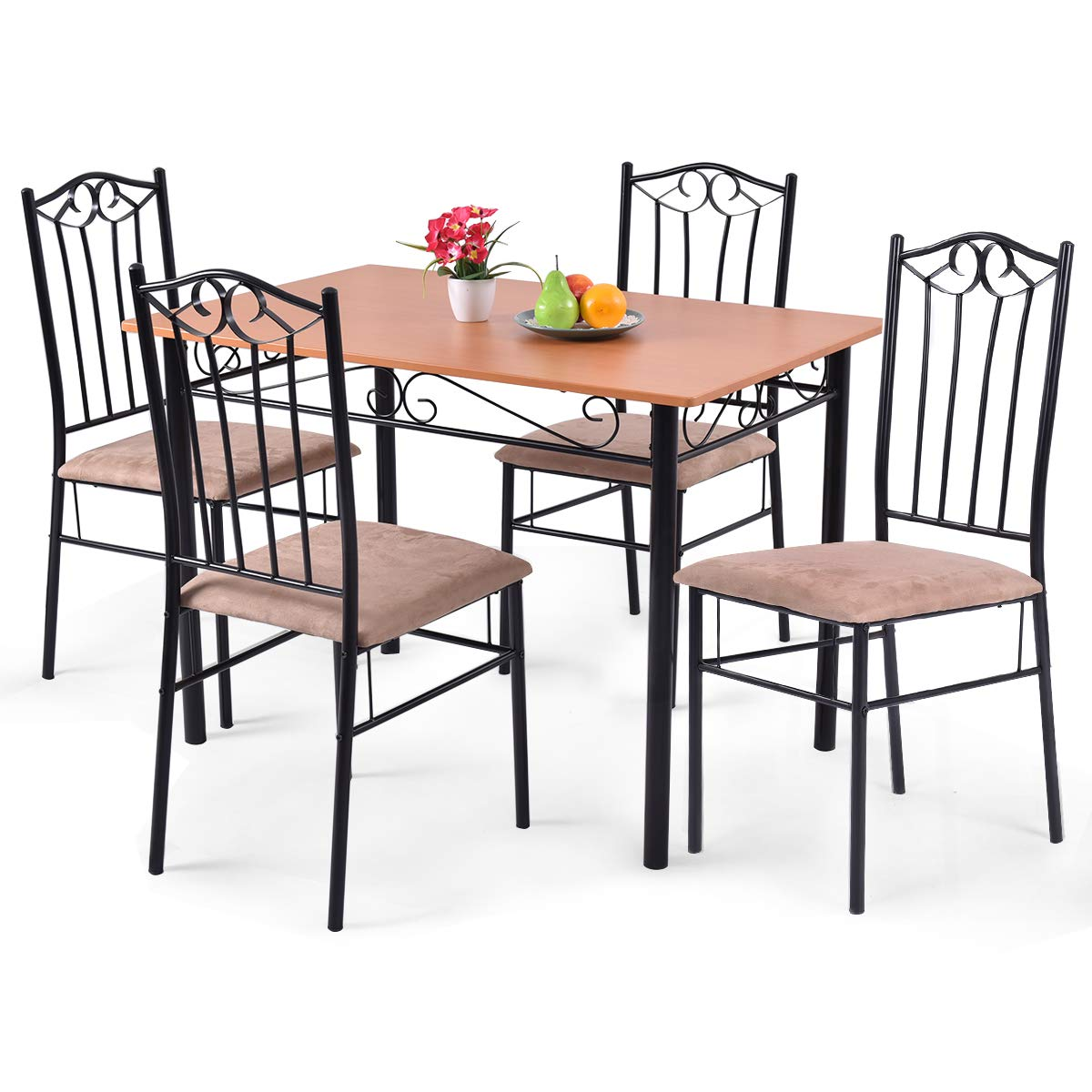 Tangkula 5 Piece Dining Table Set Vintage Wood Top Padded Seat Dining Table and Chairs Set Home Kitchen Dining Room Furniture by Tangkula