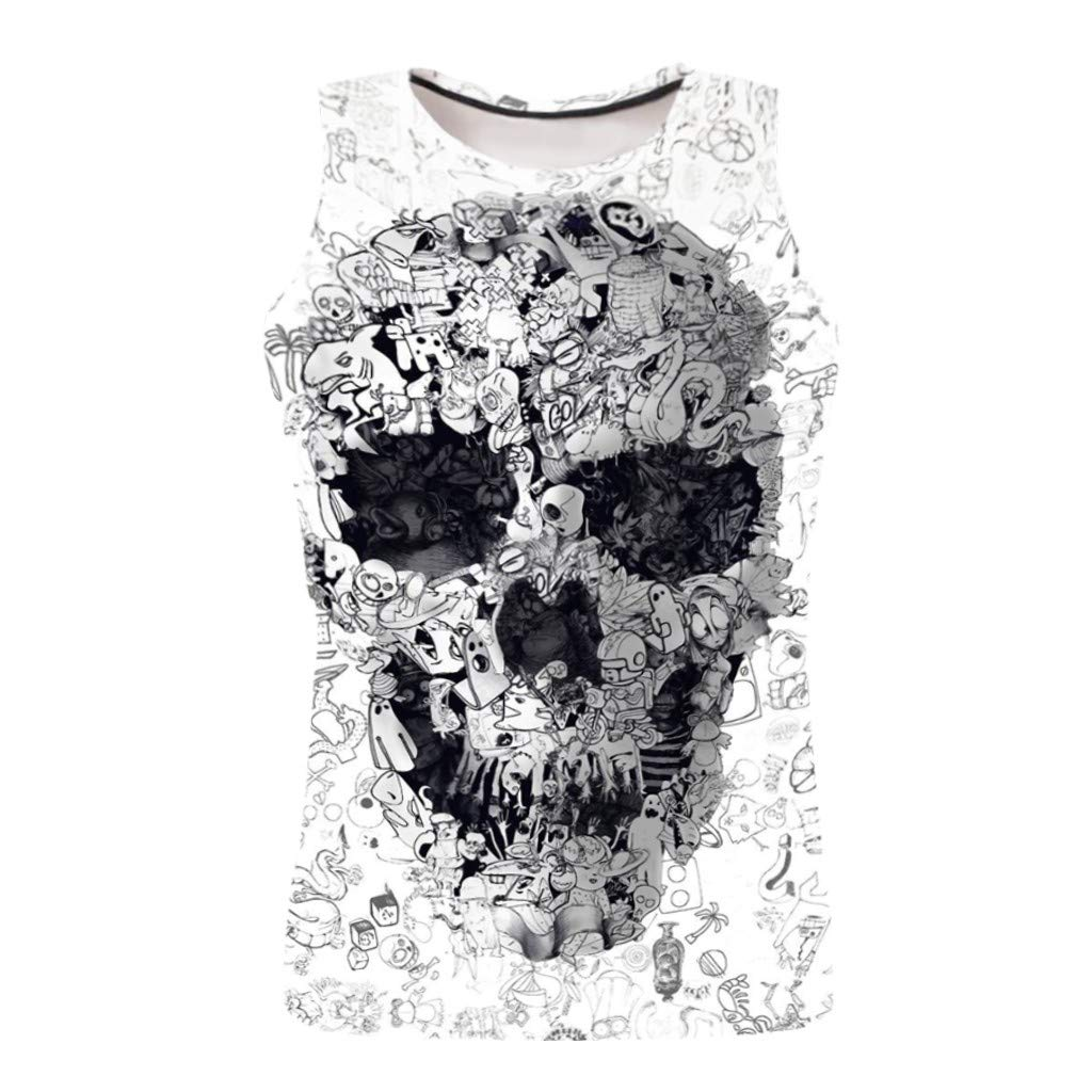 DIOMOR Fashion Casual Skull Graphic Tank Tops for Men Gym Workout Fitness Sleevless Racer Back Shirts Trendy Vest Blouse