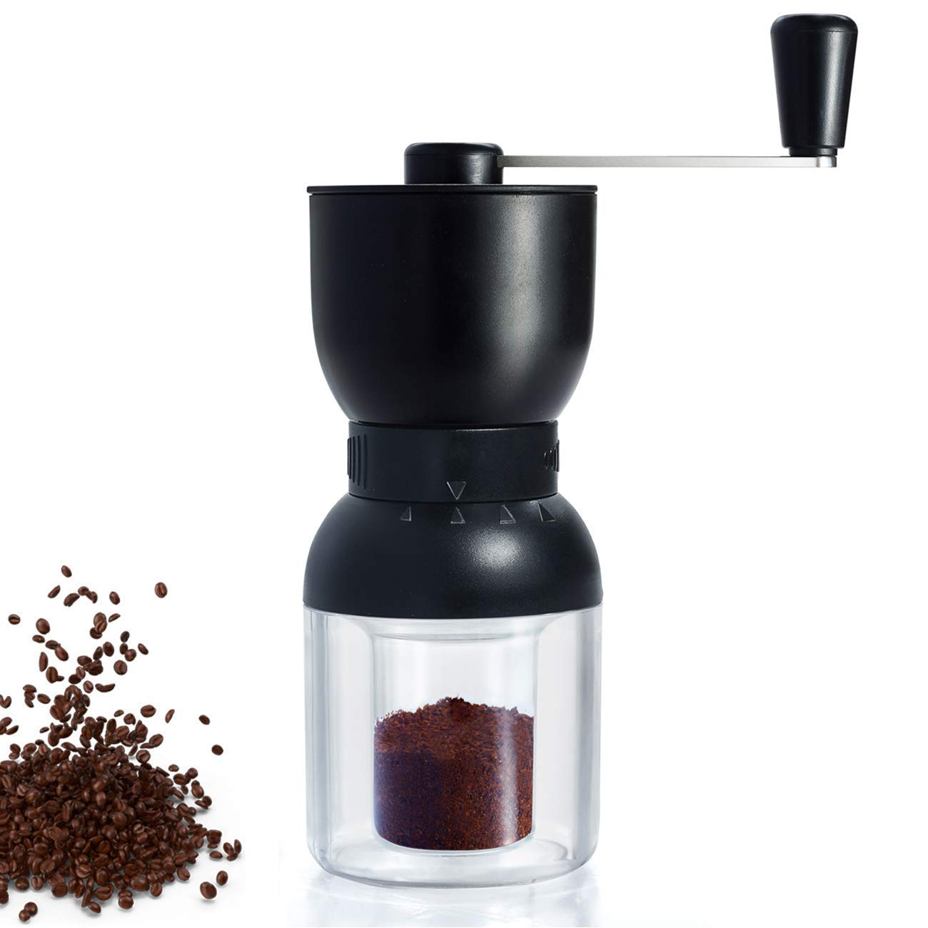 Manual Coffee Grinder with Ceramic Burrs, LHS Hand Coffee Mill with Two Containers Adjustable Coarseness Refillable Lids by LHS