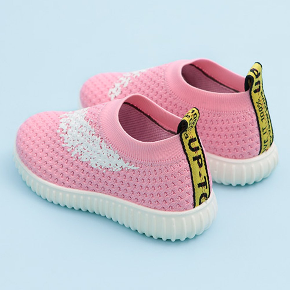 InStar Girls' Sweet Mesh Round Toe Low Top Breathable Slip-ONS Loafers Shoes Pink 5.5 M US Big Kid by SFNLD (Image #3)